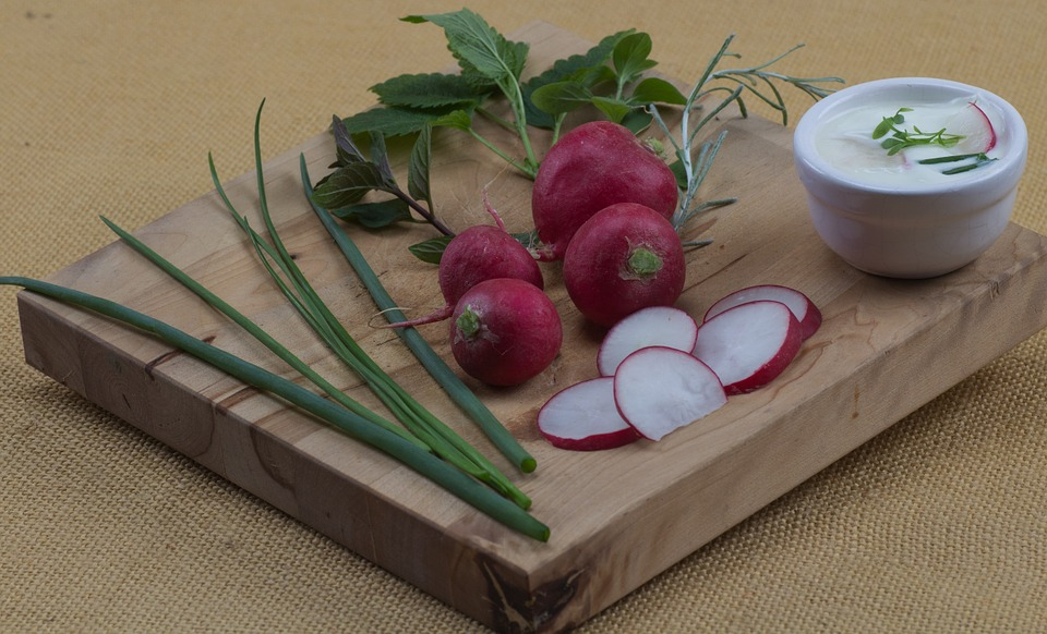 Fruit, Radishes, Chives, Board, Eat