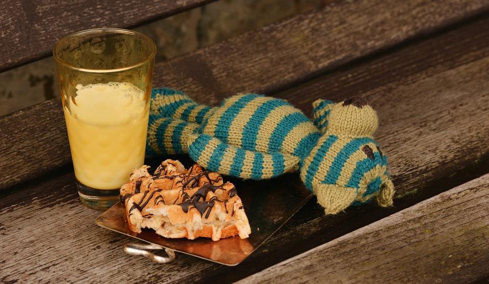Teddy Bear, Knitted, Breakfast, Meal, Eat, Kids Portion