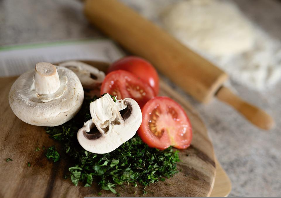 Mushrooms, Tomatoes, Herbs, Eat, Food, Cook, Raw