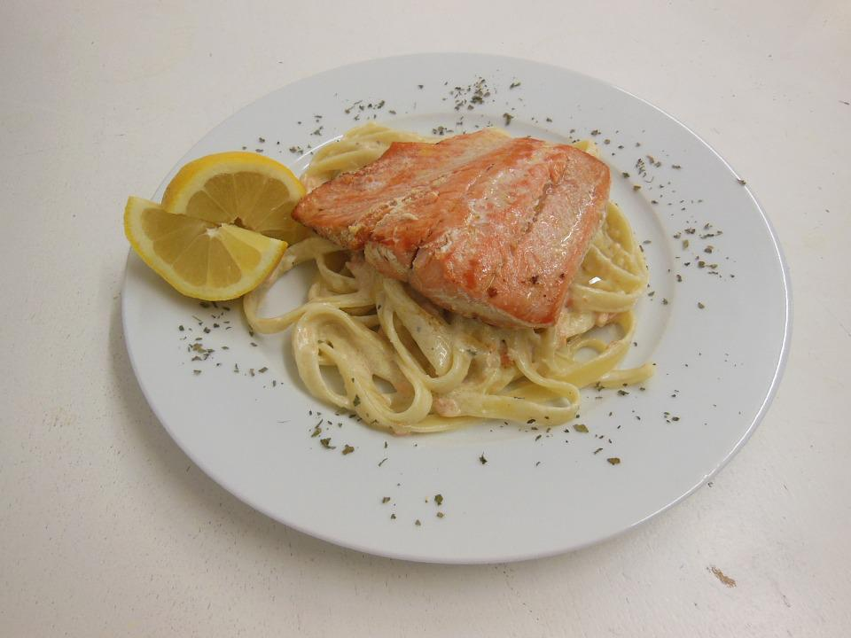 Salmon, Noodles, Lemon, Eat, Food, Fish, Delicious
