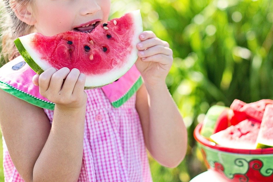 Girl, Eating, Watermelon, Eat, Little Girl, Summer