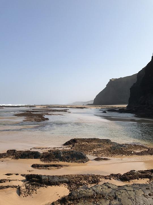 Coast, Sea, Portugal, Water, Beach, Ebb, Rock, Stones
