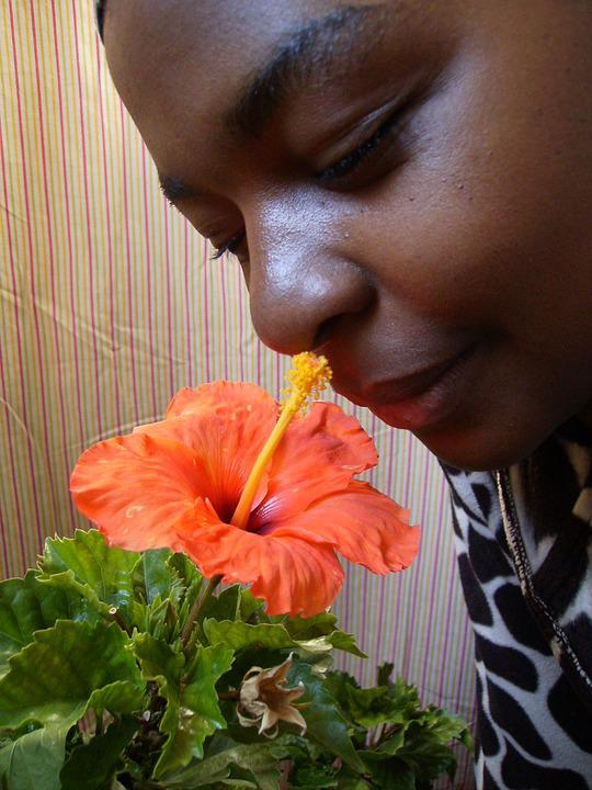 Ebony, Woman, Flower