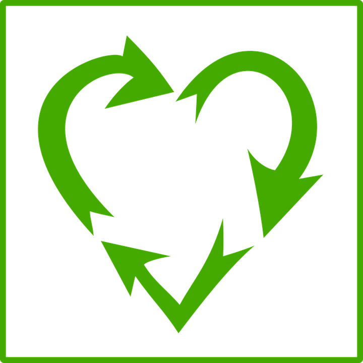 Heart, Green, Sign, Ecology, Recycle, Arrows