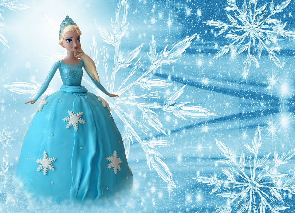 Frozen, Elsa, Ice Queen, Doll, Cake, Edible, Light Blue