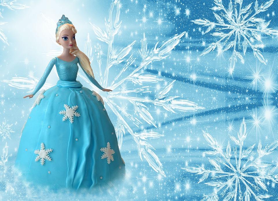 Frozen, Elsa, Ice Queen, Doll, Cake, Edible, Light Blue
