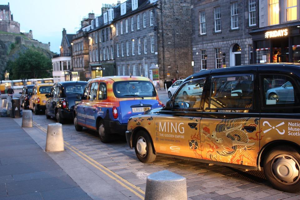 Taxi, Autos, Parking Space, Park, Parking, Edinburgh