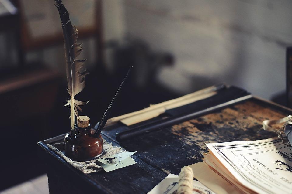 Desk, Ink, Education, Paper, Table, Vintage, Workplace