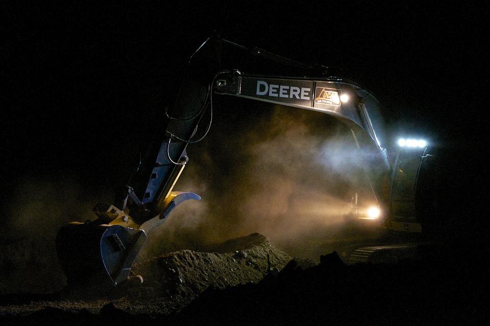 Excavator, Floodlights, Eerie, Construction, Deere