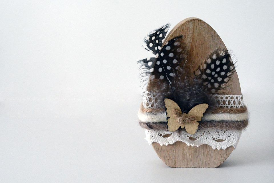 Easter Egg, Egg, Wood, Feather, Easter Decoration
