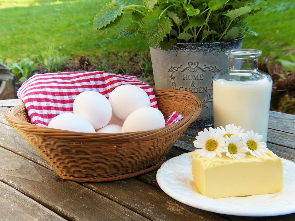 Egg, Milk, Butter, Out, Garden, Herbs, Frisch
