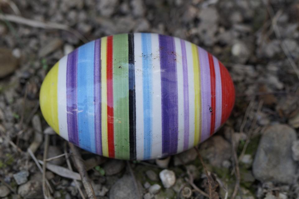 Easter Egg, Ceramic, Egg, Colorful, Striped, Lost