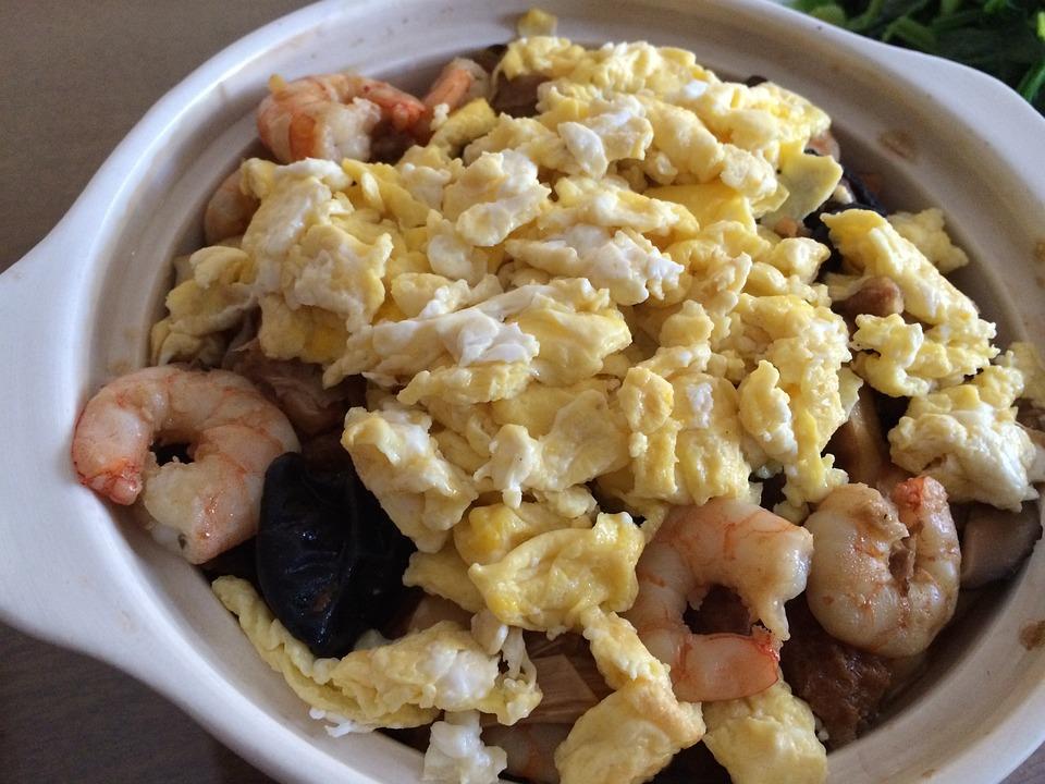 Sauced Noodles, Egg, Shrimp