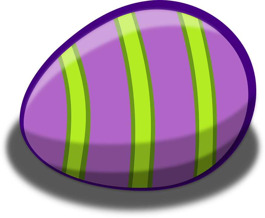 Egg, Easter, Violet, Green, Stripes, Celebration