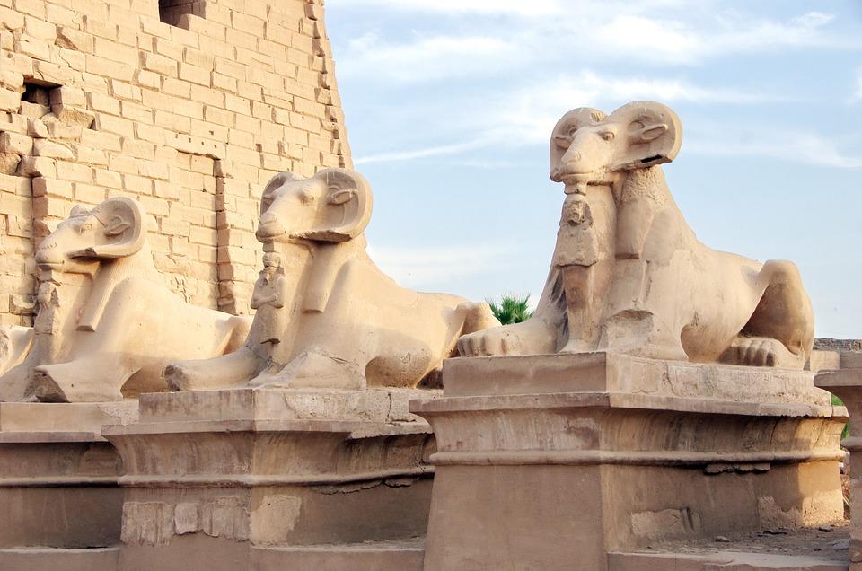 Egypt, Karnak, Temple, Allee, Rams, Amen, Statues