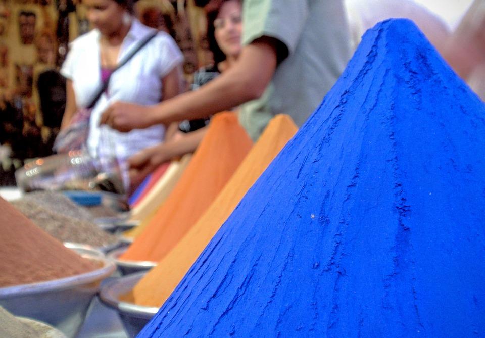 Egyptian Spices, Blue, Egypt, Aswan, Nubian Village