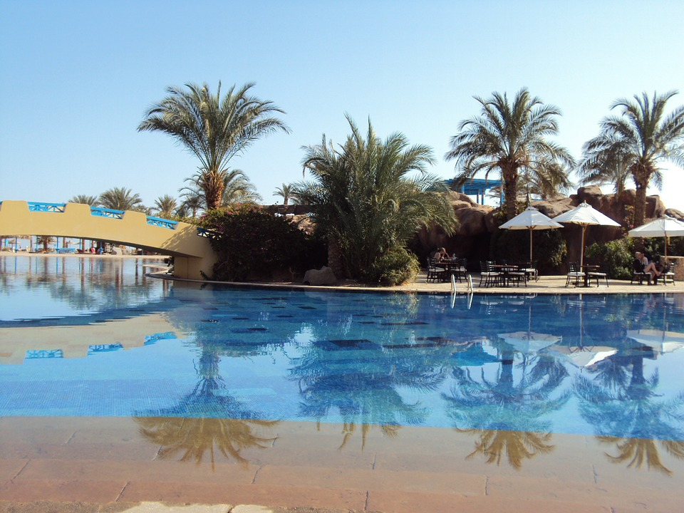 Egypt, Taba, Desert, Swimming Pool, Palm Trees, Holiday