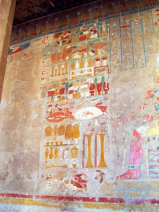 Egypt, Hieroglyphics, Temple, Hatshepsut, Tomb Painting