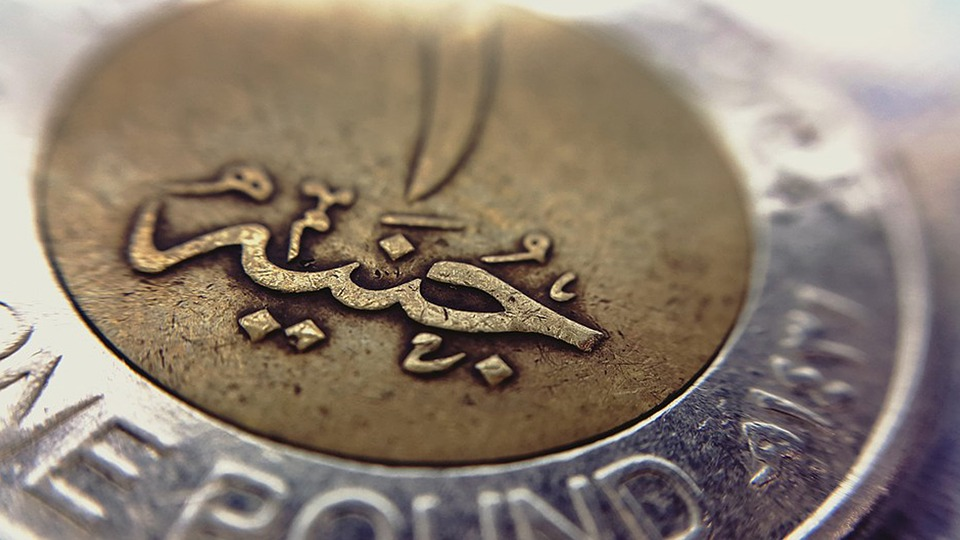 One, Pound, Egyptian, Macro, Coin, Arabic, Gold, Silver