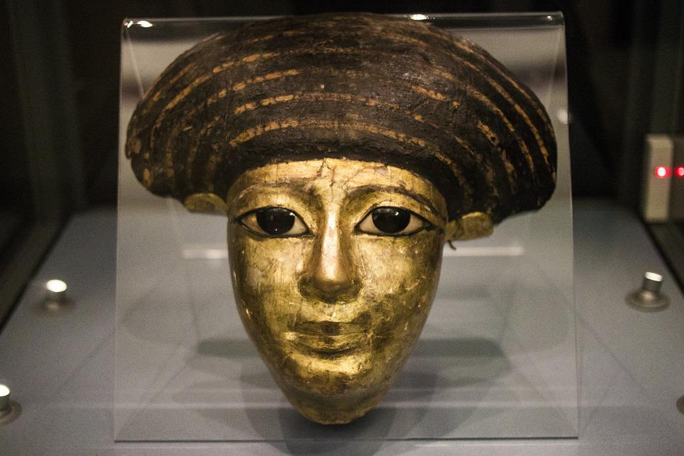Museum, Mask, Ancient, Egyptian, Funeral, Woman, Gold