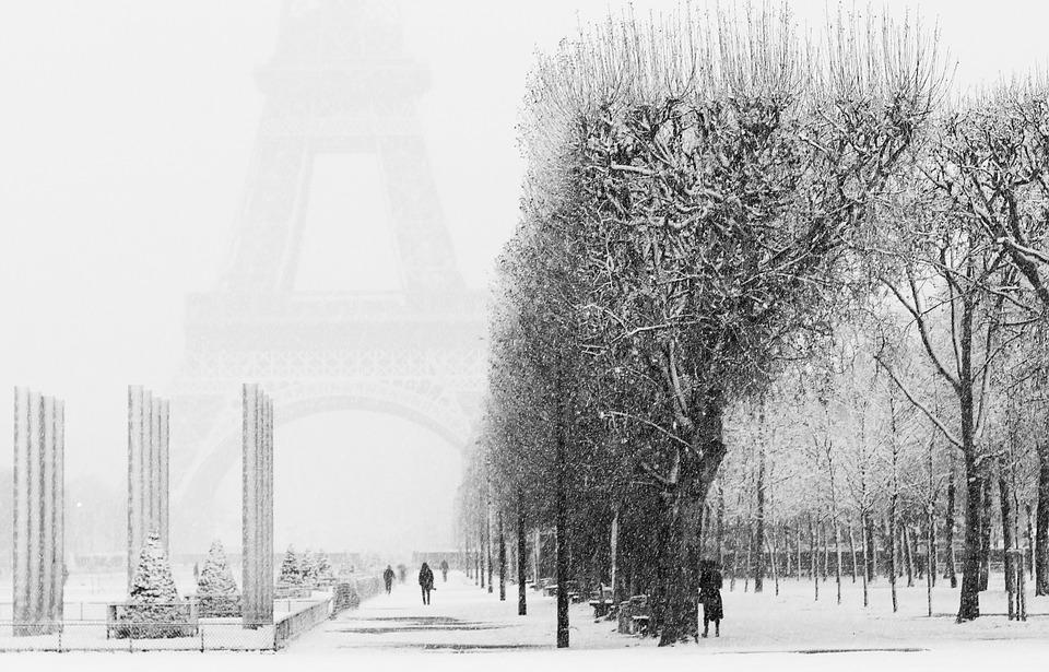Paris, Snow, Eiffel Tower, Winter, Cold, Light