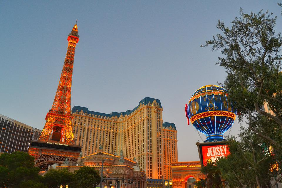 Las Vegas, Evening, Eiffel Tower, Lighting, Resort