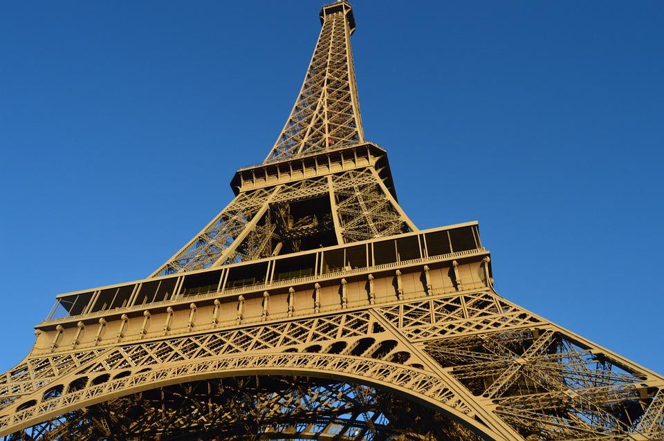 Eiffel Tower, Paris, Blue Sky