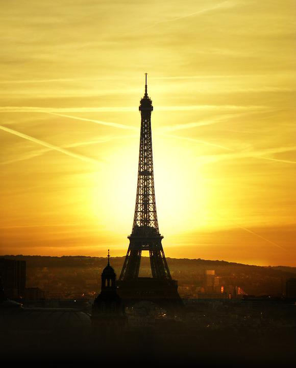 Eiffel Tower, Sunset, Sky, Architecture, Silhouette