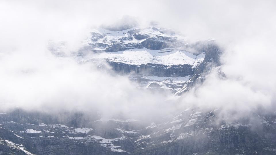Mountain, Eiger, Switzerland, Rock, Snow, Fog, Sky