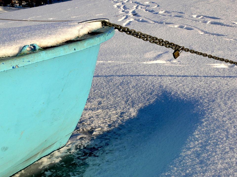 Chained, Boot, Winter, Eingefrohren, Mind, Chain