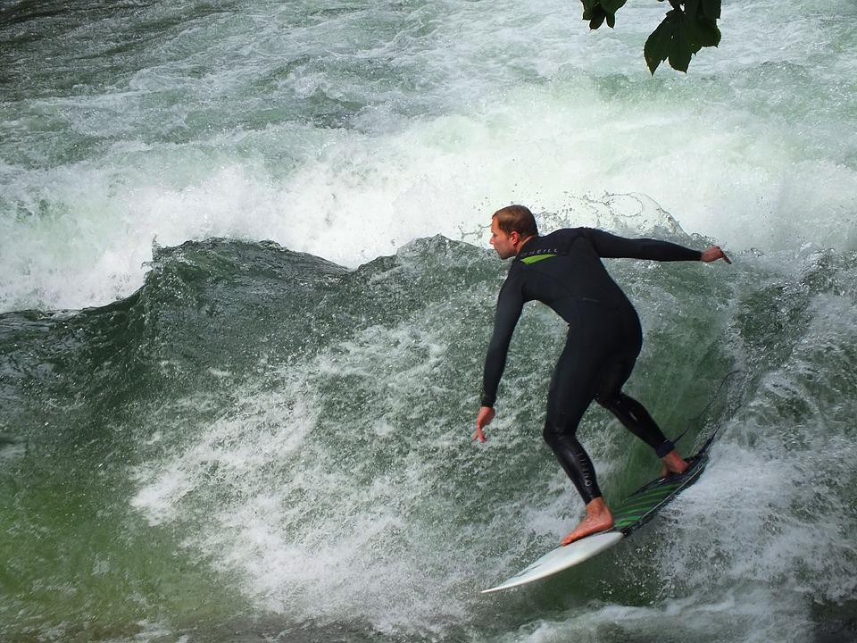 Munich, Eisbach, Surfer, Surf, English Garden, Bavaria