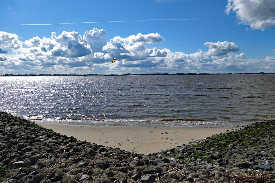 Elbe, Surfers, Clouds, Elbe Beach, Waters, Nature