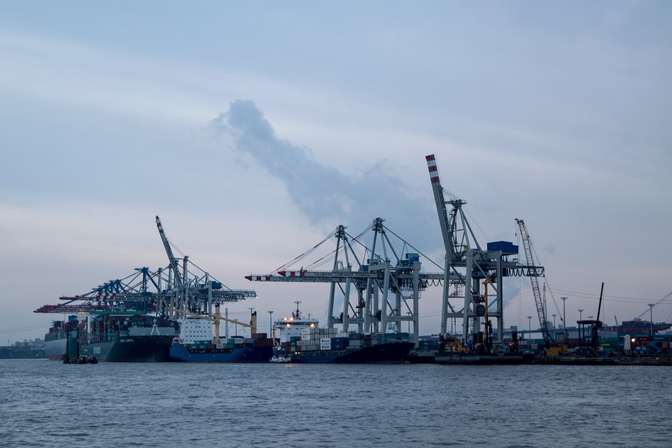 Water, Port, Hamburg, Cargo, Elbe, Boats, Ship, Crane