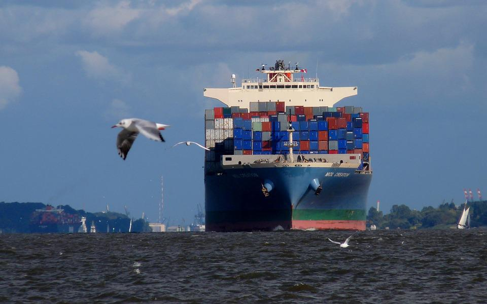 Container, Freighter, Seafaring, Elbe, Sea
