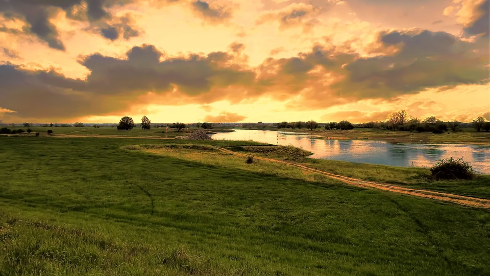 River, Landscape, Sunrise, Sky, Water, Nature, Elbe