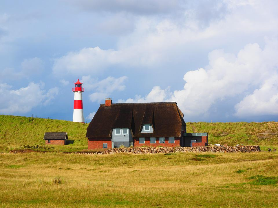 Lighthouse, Sylt, Elbow, Red-and-white Striped