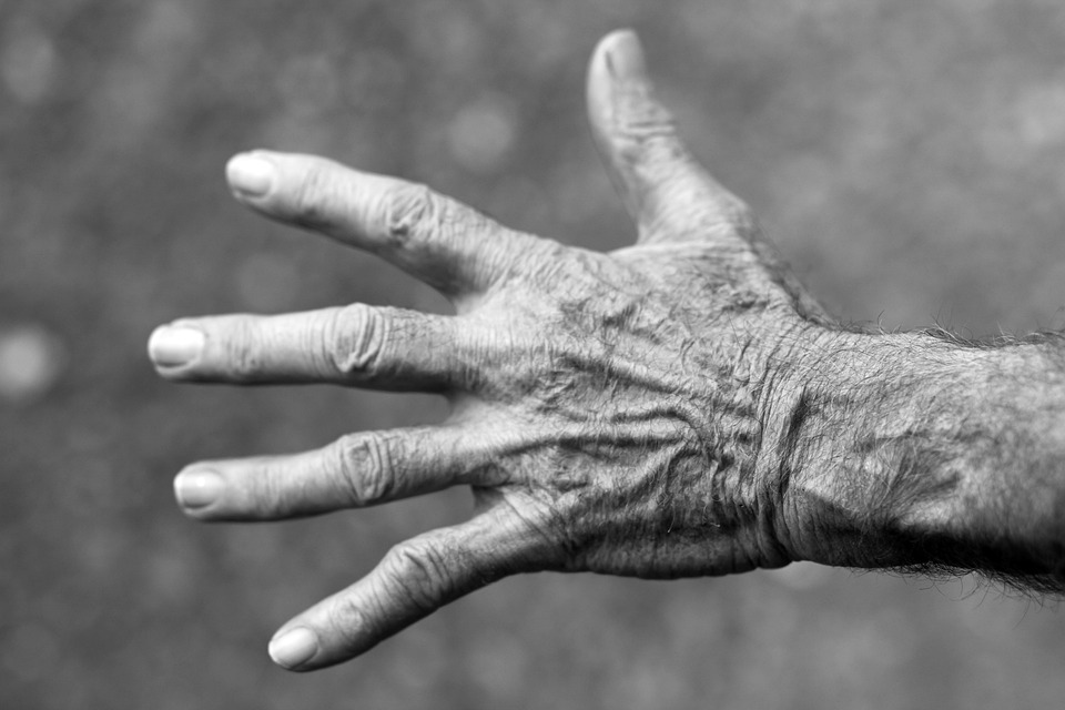 Hand, Elderly Woman, Wrinkles, Black And White