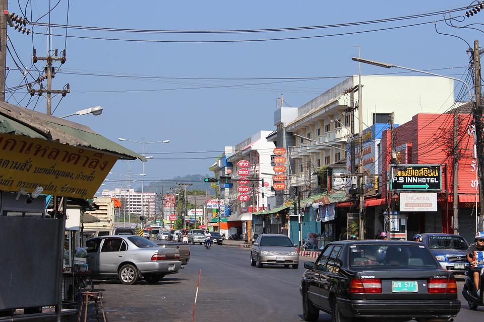 Thailand, Phuket, Street, Traffic, Cars, Electric Cable