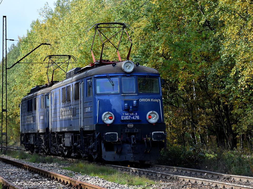Electric Locomotive, Forest, Tracks, Traction