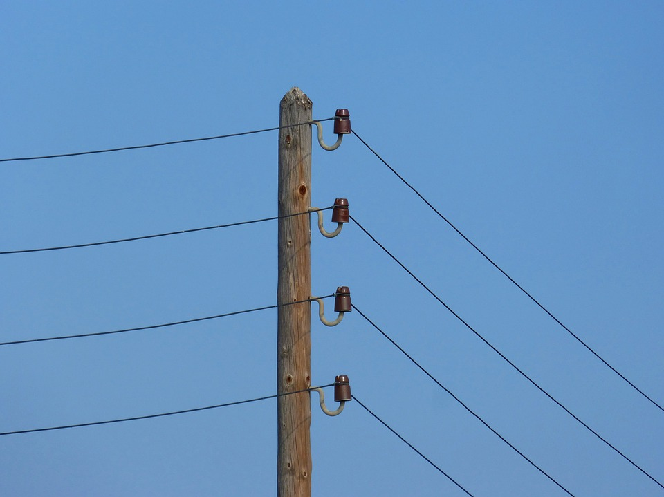 Electric Pole, Power Line, Insulators, Old