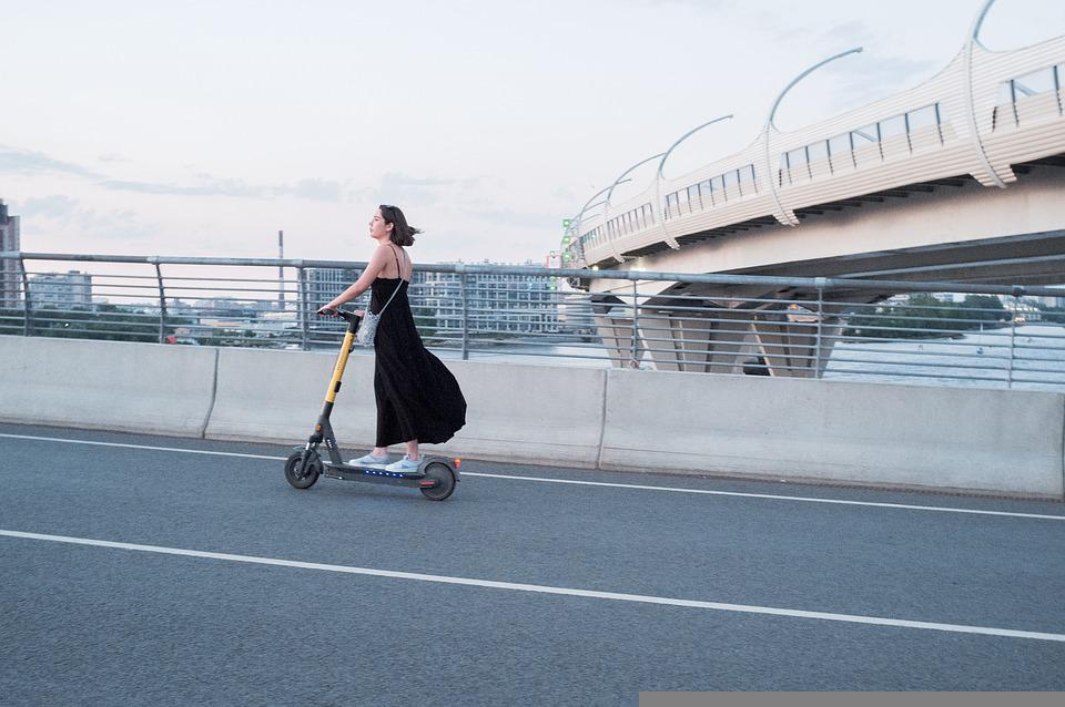 Woman, Electric Scooter, Street, Scooter