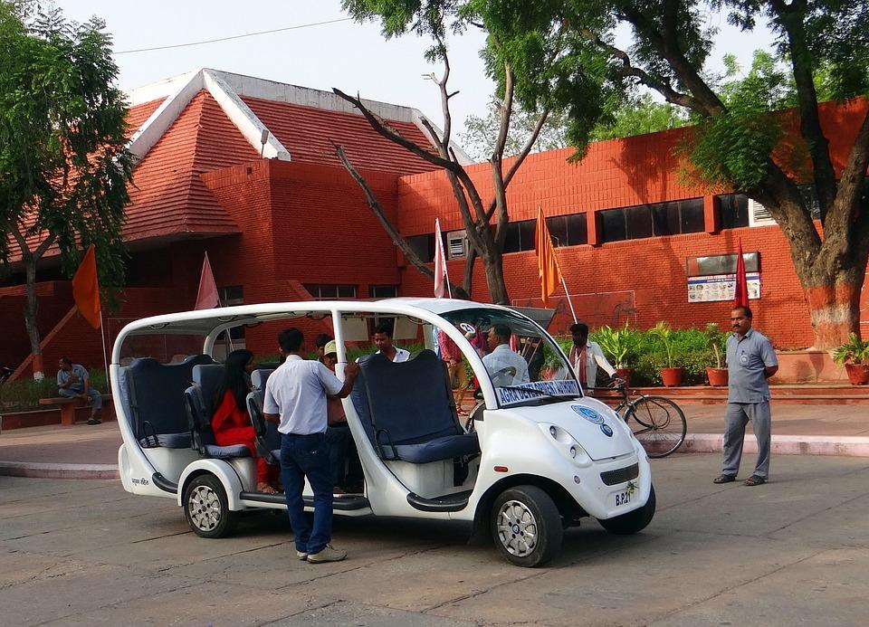 Agra, Electric Vehicle, Taj Drop-off, Taj Mahal, India