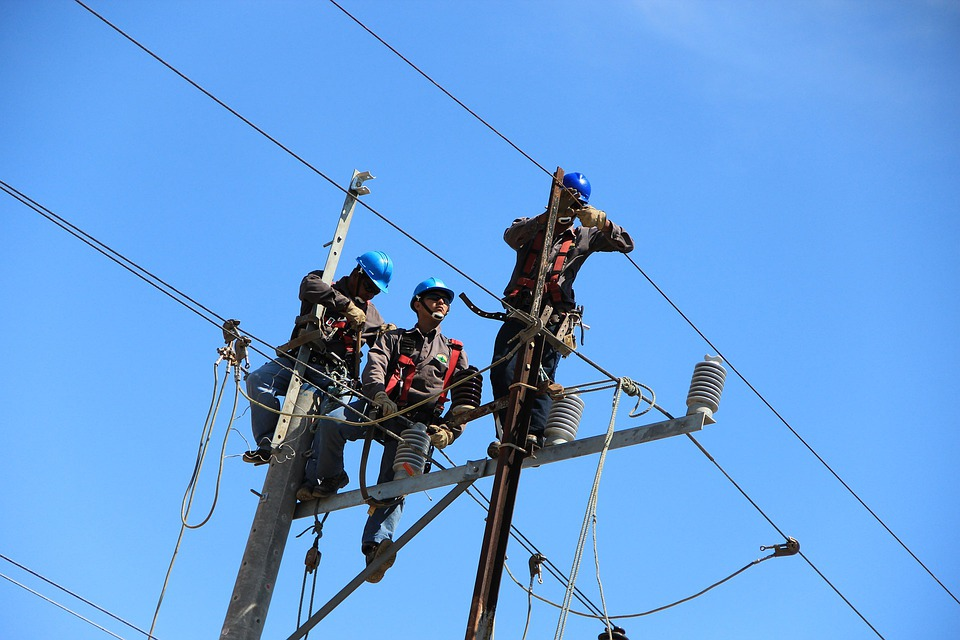 Wire, Telephone Poles, Poles, Workers, Electrical