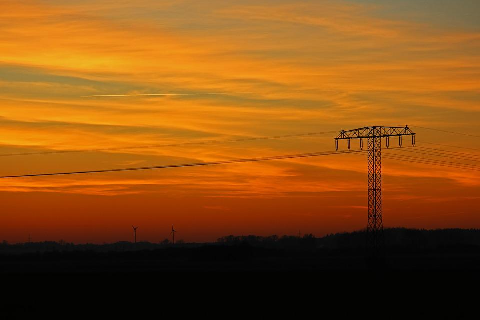 Sunset, Strommast, Current, Energy, Electricity, Sky