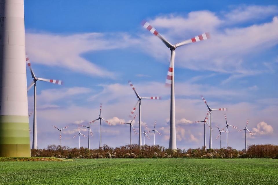 Wind Turbines In Motion, Electricity, Energy