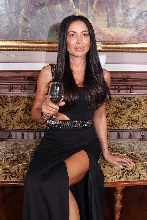 Woman, Model, Dress, Elegant, Formal, Wine, Toast