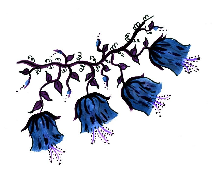 Blue, Flowers, Vine, Element, Page, Decoration, Craft