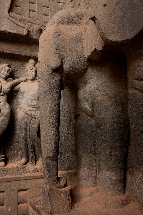 Elephant, Statue, Karla Caves, Carved Stone, India