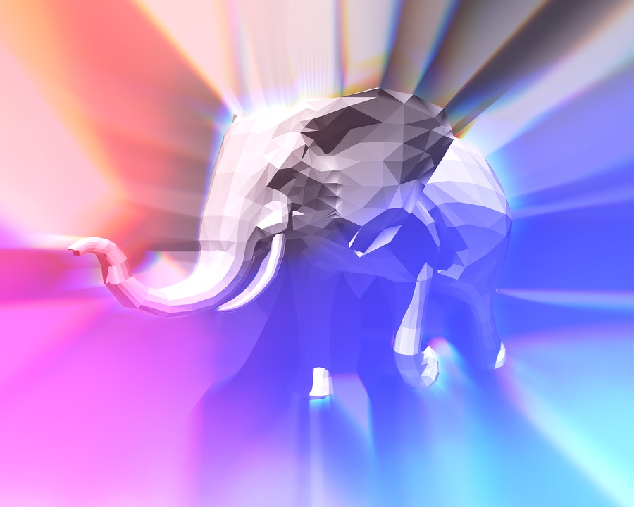 Elephant, Abstract, Color, 3d, Running, Strong