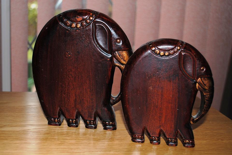 Elephants, Carved, Wood, Ornaments, Souvenir